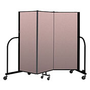 "Screenflex Portable Room Divider 3 Panel, 5'H x 5'9""L, Vinyl Color: Mauve"