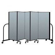 "Screenflex Portable Room Divider 5 Panel, 5'H x 9'5""L, Vinyl Color: Blue"
