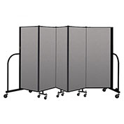 "Screenflex Portable Room Divider 5 Panel, 5'H x 9'5""L, Vinyl Color: Gray"