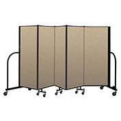 "Screenflex Portable Room Divider 5 Panel, 5'H x 9'5""L, Vinyl Color: Oatmeal"