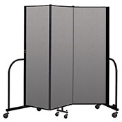 "Screenflex Portable Room Divider 3 Panel, 6'H x 5'9""L, Vinyl Color: Tan"