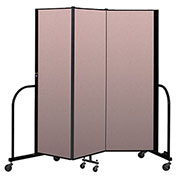 "Screenflex Portable Room Divider 3 Panel, 6'H x 5'9""L, Vinyl Color: Mauve"