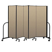"Screenflex Portable Room Divider 5 Panel, 6'H x 9'5""L, Vinyl Color: Oatmeal"