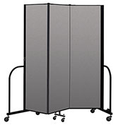 "Screenflex Portable Room Divider 3 Panel, 6'8""H x 5'9""L, Vinyl Color: Gray"