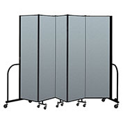 "Screenflex Portable Room Divider 5 Panel, 6'8""H x 9'5""L, Vinyl Color: Blue"