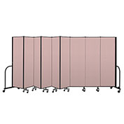 "Screenflex Portable Room Divider 9 Panel, 6'8""H x 16'9""L, Vinyl Color: Mauve"