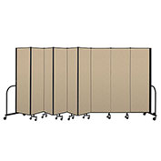 "Screenflex Portable Room Divider 9 Panel, 6'8""H x 16'9""L, Vinyl Color: Oatmeal"