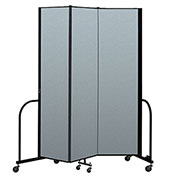 "Screenflex Portable Room Divider 3 Panel, 7'4""H x 5'9""L, Vinyl Color: Blue"