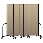 "Screenflex Portable Room Divider 5 Panel, 7'4""H x 9'5""L, Vinyl Color: Oatmeal"