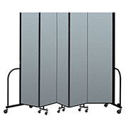 "Screenflex Portable Room Divider 5 Panel, 8'H x 9'5""L, Vinyl Color: Blue"