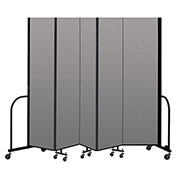 "Screenflex Portable Room Divider 5 Panel, 8'H x 9'5""L, Vinyl Color: Gray"