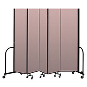 "Screenflex Portable Room Divider 5 Panel, 8'H x 9'5""L, Vinyl Color: Mauve"