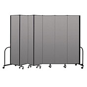"Screenflex Portable Room Divider 7 Panel, 8'H x 13'1""L, Vinyl Color: Gray"