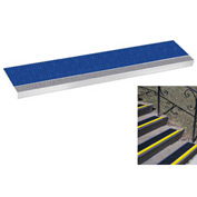"Grit Surface Aluminum Stair Tread 11""D 30""W Glued Down Grayblue"