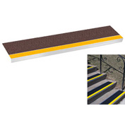 "Grit Surface Aluminum Stair Tread 11""D 42""W Glued Down Yellowbrown"
