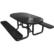 "72"" Oval Perforated Metal Surface Mount Picnic Table - Black"