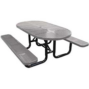 "72"" Oval Perforated Metal Surface Mount Picnic Table - Gray"