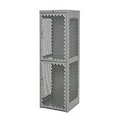 Pucel Heavy Duty Extra Wide Vented Steel Locker Double Tier 18x18x75 2 Door Gray