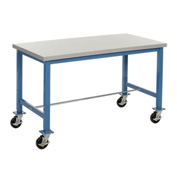 "60""W x 30""D Mobile Packaging Workbench - ESD Laminate Safety Edge - Blue"
