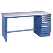 72x30 Square Plastic Pedestal Workbench with 4 Drawers