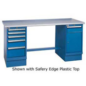 60x30 Square Maple Pedestal Workbench with 4 Drawers & Cabinet