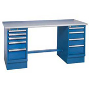 72x30 Square Plastic Pedestal Workbench with 8 Drawers
