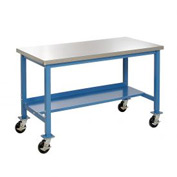 "72""W x 30""D Mobile Workbench - Stainless Steel - Blue"