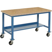 "72""W x 30""D Mobile Workbench - Shop Top Square Edge - Blue"