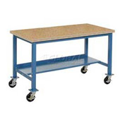 "72""W x 36""D Mobile Workbench - Shop Top Square Edge - Blue"