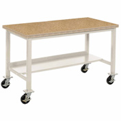 "72""W x 36""D Mobile Workbench - Shop Top Safety Edge - Tan"
