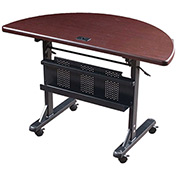 "Balt® Half Round Flipper Training Table - 48"" x 24"" - Mahogany"