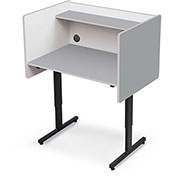 Height Adjustable Study Carrel - Gray