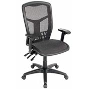 Multifunction Mesh Office Chair with Arms - High Back - Black