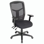 Multifunction Mesh Office Chair with Arms - Fabric - High Back - Black