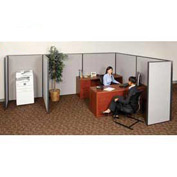 "Interion™ Pre-Configured Partitioned Office Starter, 6'W x 8'D x 60""H, Gray"