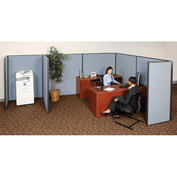 "Interion™ Pre-Configured Partitioned Office Add-On, 6'W x 8'D x 60""H, Blue"