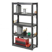 "Plastic Shelving, 40""W x 18""D x 72""H, Industrial 5 Shelf, Charcoal, Gray"
