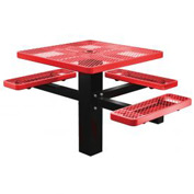 "46"" Single Post Square Picnic Table (ADA) Expanded Metal"