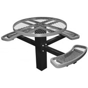 "46"" Single Post Round Picnic Table (ADA) Expanded Metal"