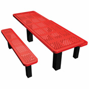 "72"" Permanent Rectangular Picnic Table Perforated Metal"