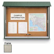 "United Visual Products Sliding-Door Outdoor Message Center - 52""W x 40""H - Light Gray"