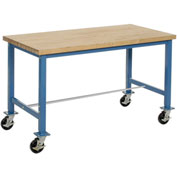 72 x 24 Maple Square Edge Packaging Bench with Caster Kit