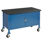 "60""W x 30""D Mobile Workbench with Security Cabinet - Phenolic Resin Safety Edge - Blue"