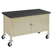 "60""W x 30""D Mobile Workbench with Security Cabinet - Phenolic Resin Safety Edge - Tan"