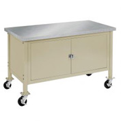 "72""W x 30""D Mobile Workbench with Security Cabinet - Stainless Steel Square Edge - Tan"