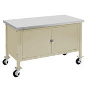"60""W x 30""D Mobile Workbench with Security Cabinet - Plastic Laminate Safety Edge - Tan"