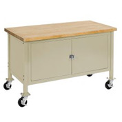 """60""""W x 30""""D Mobile Workbench with Security Cabinet - Maple Butcher Block Safety Edge - Tan"""