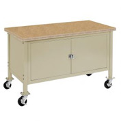 "72""W x 30""D Mobile Workbench with Security Cabinet - Shop Top Safety Edge - Tan"