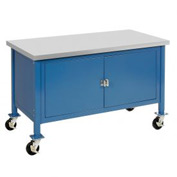 "60""W x 30""D Mobile Workbench with Security Cabinet - ESD Square Edge - Blue"