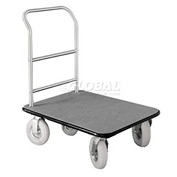 Glaro Bellman Hotel Truck 35x25 Satin Aluminum 1 Handle, Gray Carpet, Pneumatic Wheels